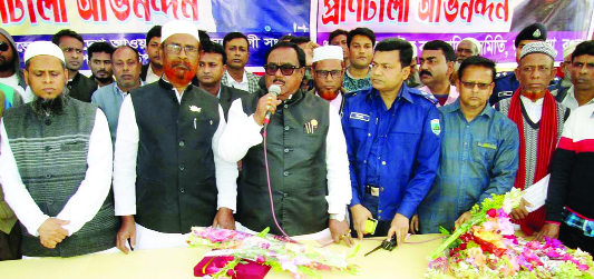 DUPCHANCHIA (Bogura): Food Minister Sadhan Chandra Majumder  speaking at a wayside meeting at  Dupchanchia Bus Stand  in Bogura  on Tuesday.