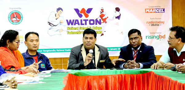 Senior Operative Director (Head of Games & Sports) of Walton Group FM Iqbal Bin Anwar Dawn speaking at a press conference at the conference room in the Bangabandhu National Stadium on Wednesday.