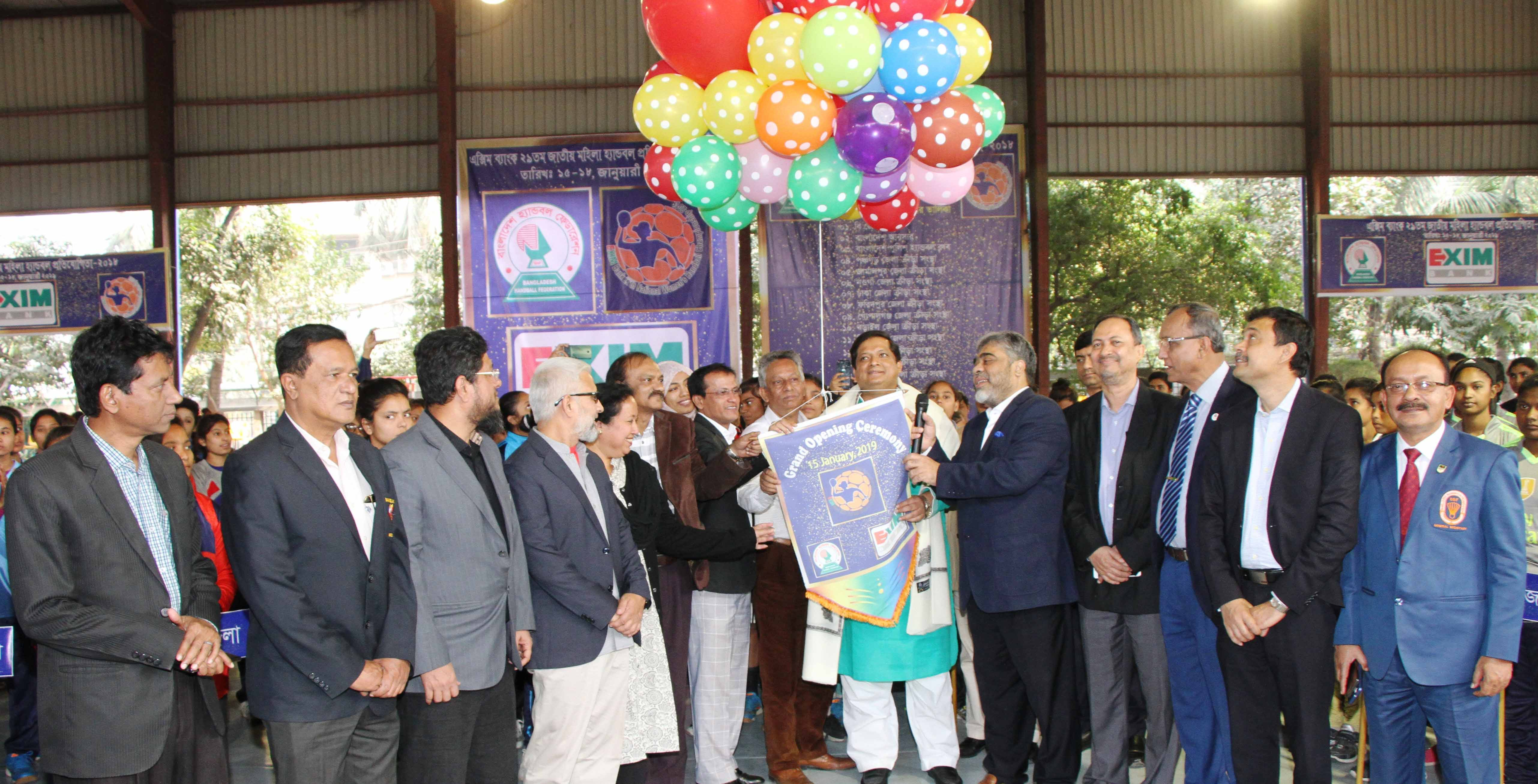 State Minister for Youth and Sports Zahid Ahsan Russell inaugurating the EXIM Bank 29th National Women's Handball Competition by releasing the balloons as the chief guest at Shaheed Captain M Mansur Ali National Handball Stadium on Wednesday.