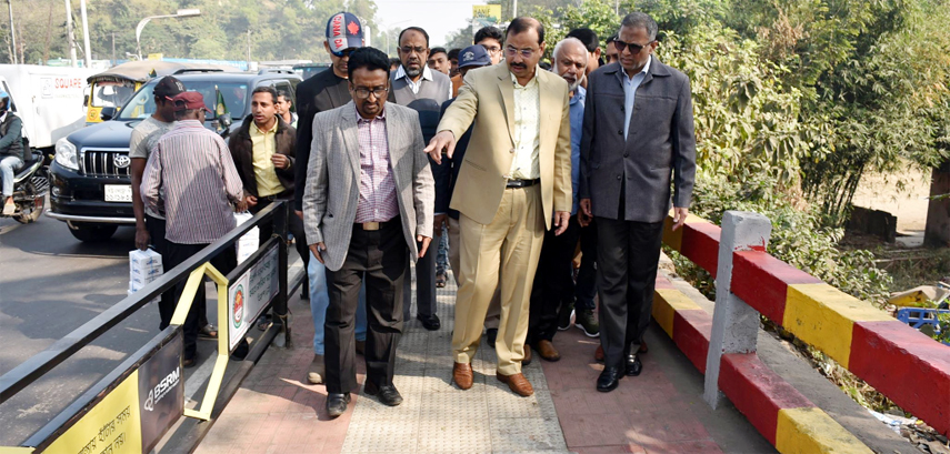 CCC Mayor A J M Nasir Uddin visiting beautification work from Tiger Pass to Dewanhat Over Bridge recently.