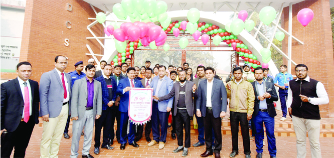 DINAJPUR:Secretary of Bangladesh Election Commission Helaluddin inaugurating main gate of Dinajpur Collectorate School and College yesterday.