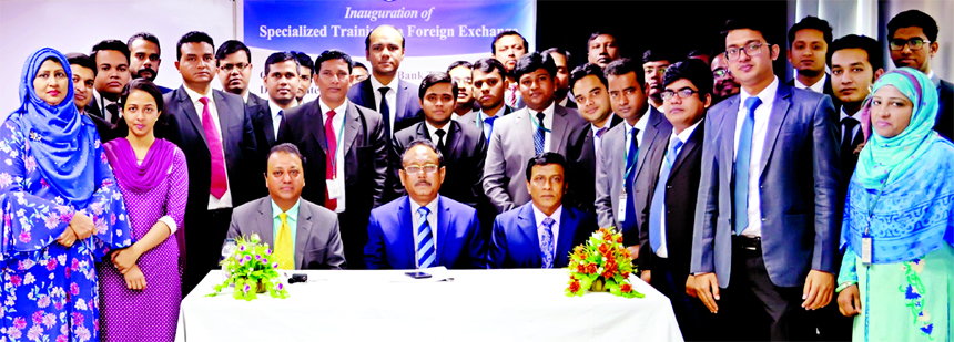Md. Quamrul Islam Chowdhury, AMD of Mercantile Bank Limited, poses for a photograph with the participants of seven days long training course on