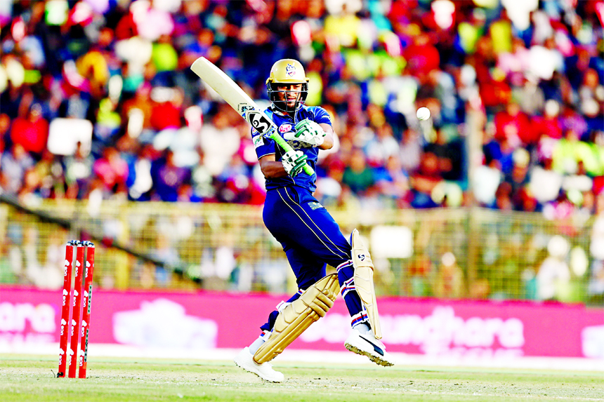 Shakib Al Hasan of Dhaka Dynamites plays a shot during the match of the UCB 6th Bangladesh Premier League (BPL) T20 cricket between Dhaka Dynamites and Sylhet Sixers at Sylhet International Cricket Stadium on Friday.