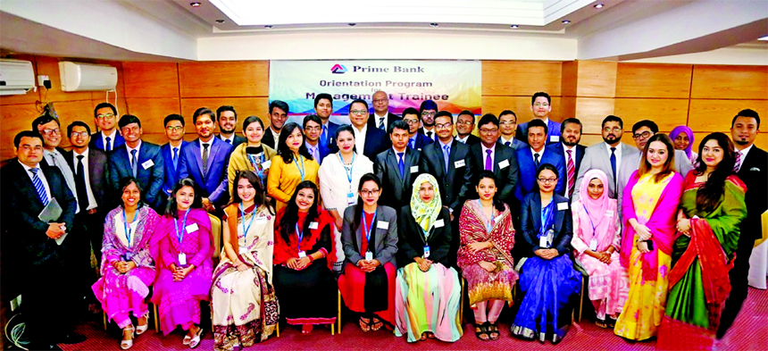 Rahel Ahmed, Managing Director of Prime Bank Limited, poses for a photograph with the participants of a two days long 'Orientation Program' for the newly recruited Management Trainee (MT) at a city hotel recently. Various divisional leaders along with the DMDs and other senior officials from HR and TDC of the Bank were also present.