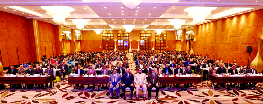 Syed Waseque Md. Ali, Managing Director of First Security Islami Bank Limited, presiding over a 2-days long Annual Business Conference at a hotel in the city on Friday. Abdul Aziz, AMD, Md. Mustafa Khair, Md. Zahurul Haque, DMDs and other senior executives of the Bank were also present.