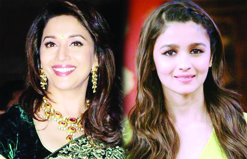 Alia , Madhuri  Nene on the set of Kalank