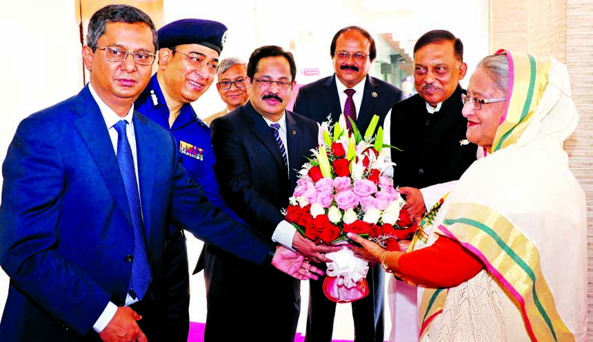 Prime Minister Sheikh Hasina being greeted by Home Minister, secretary and IGP during her visit to the Home Ministry yesterday.