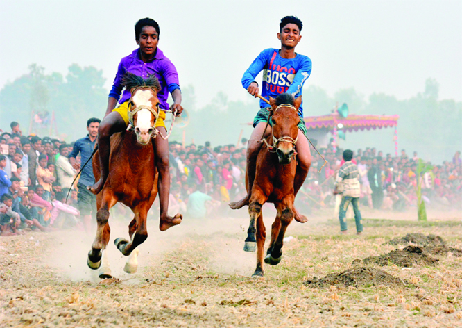 BOGURA: A traditional horse race was held on Padma bank at Gabtoli Upazila on Saturday.