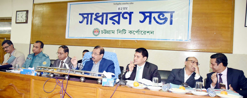 CCC Mayor AJM Nasir Uddin  speaking at the 42nd general meeting of CCC at KB Abdus Sattar Auditorium  on Sunday.