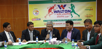 President of Bangladesh Athletics Federation SM Ali Kabir speaking at a press conference at the conference room in the Bangabandhu National Stadium on Tuesday.