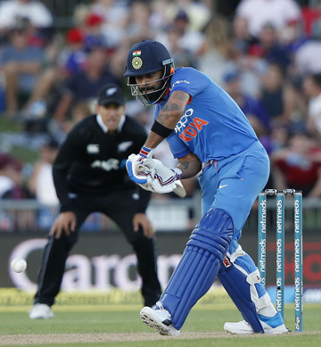 India's Virat Kohli plays forward during the one day international between New Zealand and India in Napier, New Zealand on Wednesday.