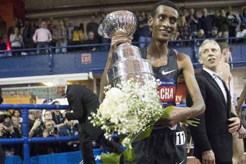 Ethiopia's Kejelcha just misses world indoor mile record