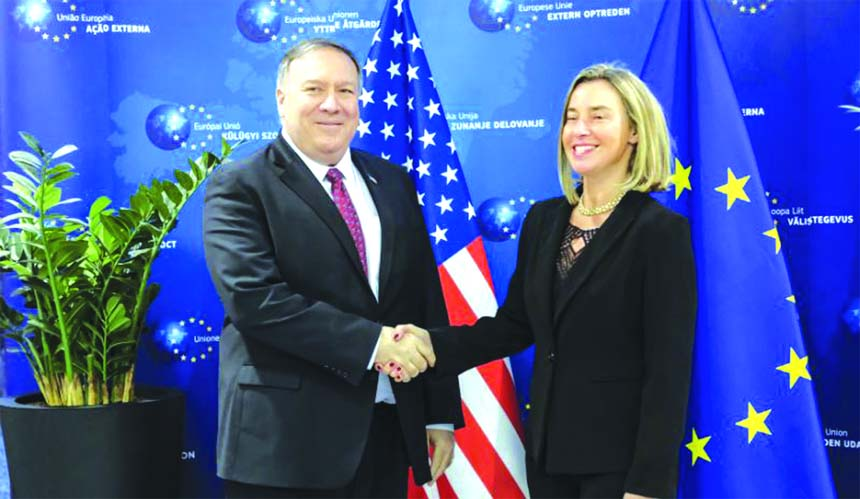 Pompeo meets with EU's top envoy as Pence lambasts Europe