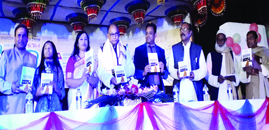 PANCHAGARH : Railways Minister Advocate Md. Nurul Islam Sujan unveiling covers of three new books at inaugural ceremony of the week-long 'Bhasha Sainik Muhammad Sultan Book Fair-2019' in Panchagarh district town on Friday as the chief guest.