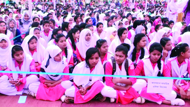 BARISHAL:  Participants at the Book Reading Festival held at Baptist Mission Girls' School  organised by Bishwa Sahittya Kendra on Saturday.