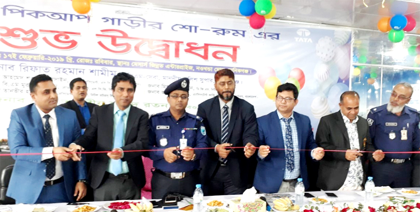 Md Mohiuddin Alamgir, Additional SP of Manikgonj, inaugurating the channel partner showroom of Nitol Motors Limited (partner of TATA motors, India) at Manikgonj Sadar on Sunday as chief guest. Md. Mizanoor Rahman, DGM and head of dealer network, BM Murad, DGM, Tanvir Hasan, Shawkat Hossain, DGMs of Nitol Motors and Zinnath Ali, channel partner were also present.