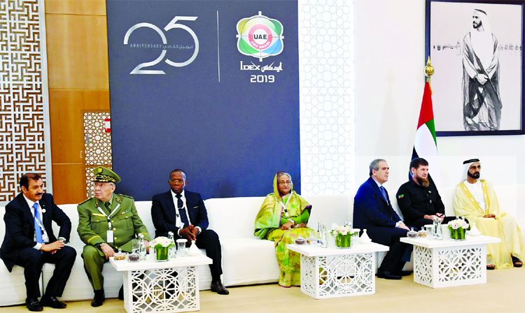Prime Minister Sheikh Hasina with heads of govt attending the International Defence Exhibition at Abu Dhabi on Sunday.