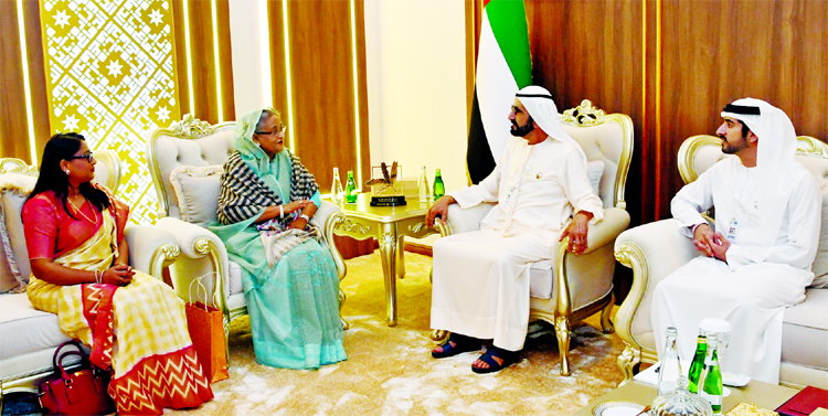 Prime Minister Sheikh Hasina at a bilateral meeting with the Prime Minister of the United Arab Emirates Sheikh Mohammad Bin Rashed Al Maktoum at Abudhabi National Exhibition Center on Monday.