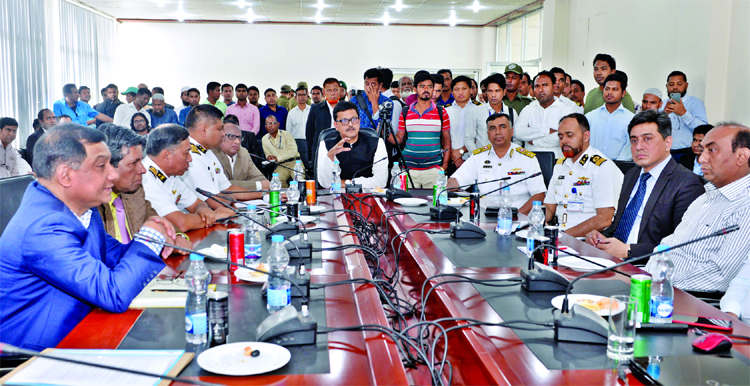 State Minister for Shipping Khalid Mahmud Chowdhury speaking with the officials and employees after visiting Pangaon ICT office in Keraniganj on Monday.