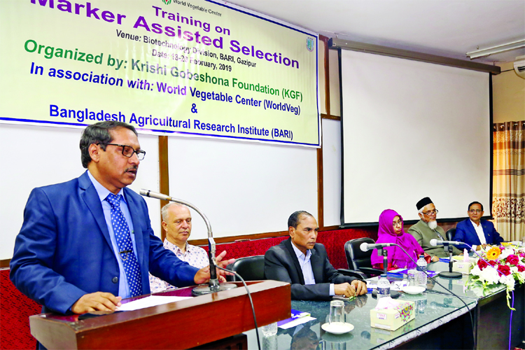 Director General of Bangladesh Agricultural Research Institute Dr. Abul Kalam Azad speaking at the inaugural ceremony of a training programme on 'Marker Assisted Selection' at its seminar room  in Gazipur on Monday.