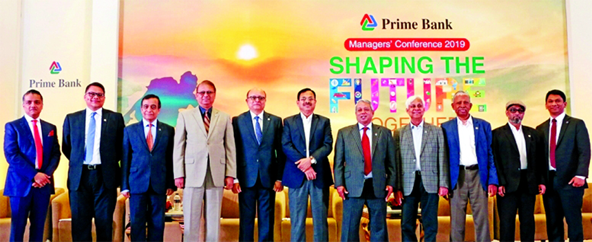 Azam J Chowdhury, Chairman of Prime Bank Limited, attended with the participants of 'Managers Conference-2019 at Hotel Intercontinental in the city on Saturday. Mafiz Ahmed Bhuiyan, Imran Khan, Vice Chairmen, Md. Shirajul Islam Mollah, EC Chairman, Shamsuddin Ahmad, Audit Committee Chairman, Dr. GM Khurshid Alam, Risk Management Committee Chairman, Md. Shahadat Hossain, Waheed Murad Jamil, Directors and Rahel Ahmed, CEO of the Bank were also present.
