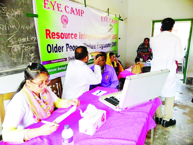 BETAGI(Barguna): A medical camp was held at Sheikh Fazilatunneasa Mujib Medical Hospital and Training Institute under a project of Probin Kalyan Karmosuchi of Resort Integration Centre at Gopalganj recently.