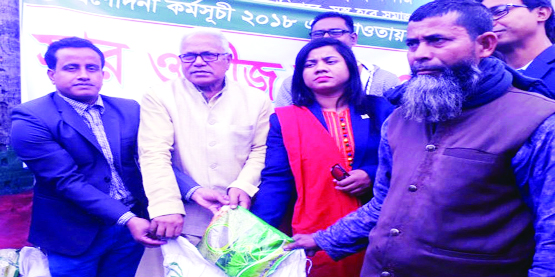 NILPHAMARI: Md Aftab Uddin Sarker MP distributing agricultureal -incentives among 200 farmers at a function  held on Dimla Upazila  Parishad premises as Chief Guest on Monday.