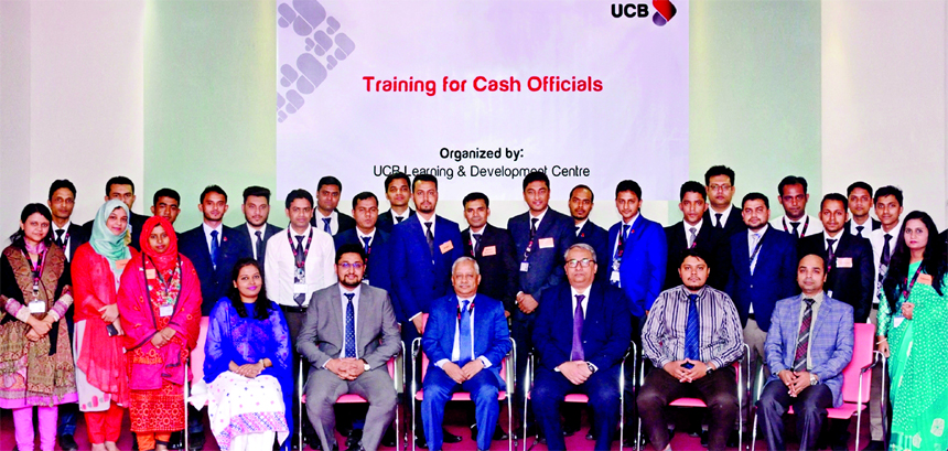 Arif Quadri, AMD of United Commercial Bank (UCB) Limited, poses for a photograph with the participants of a week-long training for its Cash Officers at the Bank's head office in the city recently. Abul Ali Ahad, Head of Learning & Development and senior officials of the Bank were also present.