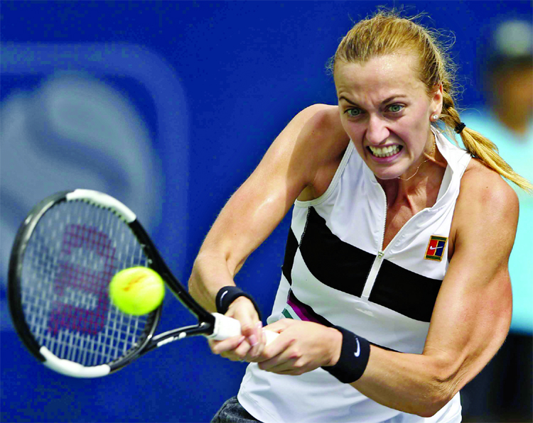Czech Republic's Petra Kvitova serves to her fellow country woman Katerina Siniakova during a match of the Dubai Duty Free Tennis Championship in Dubai, United Arab Emirates on Tuesday.