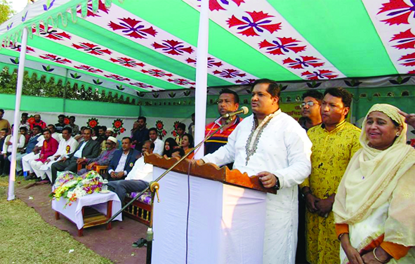 GAZIPUR:  State Minister  for Sports and Youth  Jahid Ahsan Rasel MP   speaking at the prize giving ceremony of  annual sports of Kazi Razia Sultana Girls' High School as Chief Guest  recently. Among others, Nurunnahar Akter, Headmistress of the School was present.