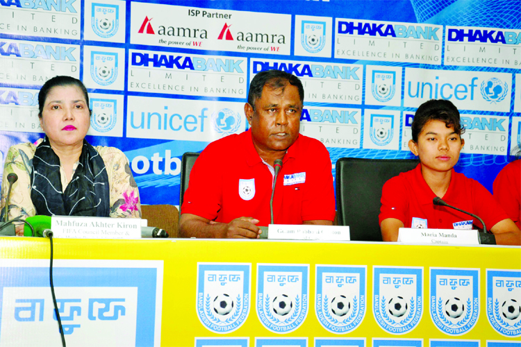 Head Coach of Bangladesh National Women's Football team Golam Rabbani Choton speaking at a press conference at the conference room in Bangladesh Football Federation (BFF) House on Wednesday.