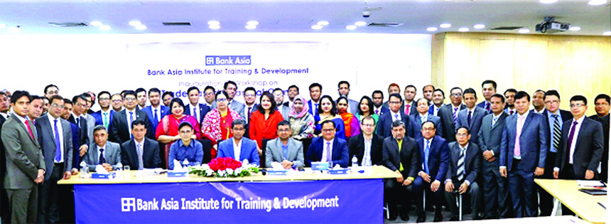Md. Arfan Ali, Managing Director of Bank Asia Ltd, poses with the participants at the inaugural session of a workshop--TRADE-BASED FINANCIAL CRIME as chief guest at its Training Institute recently. Executives and officers of different ranks participated in the workshop.