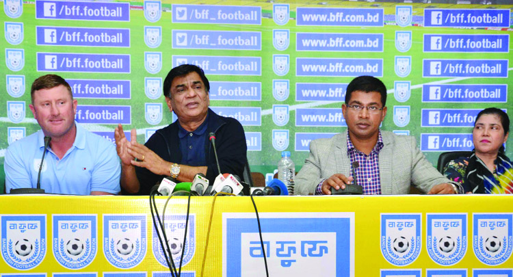President of Bangladesh Football Federation (BFF) Kazi Md Salahuddin speaking at a press conference at the conference room in BFF House on Friday.