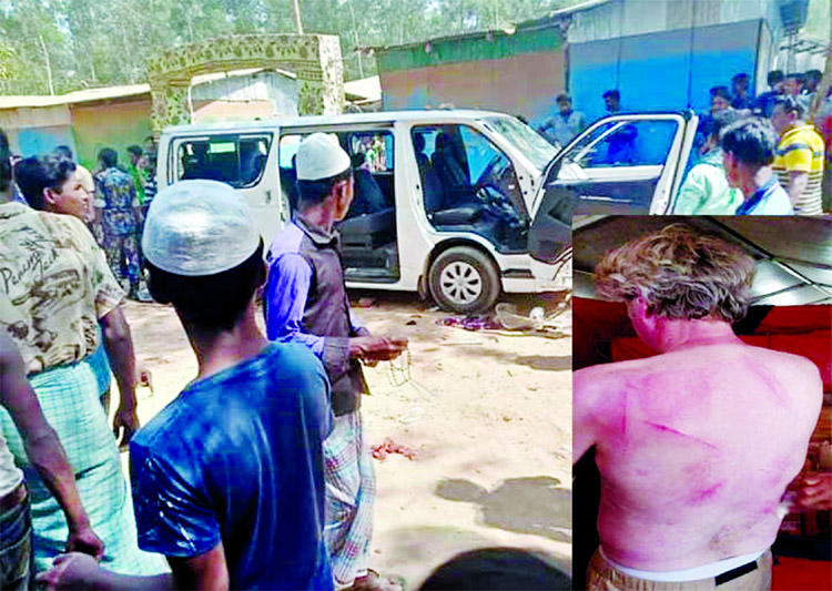 Agitated Rohingyas vandalised vehicles of German journalists while they were returning after visit the Kutupalong Rohingya camps in Cox's Bazar on Thursday.