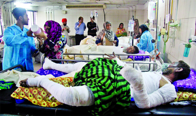 Seriously burn injured victims fighting for life at the DMCH burn unit. This photo was taken on Friday.