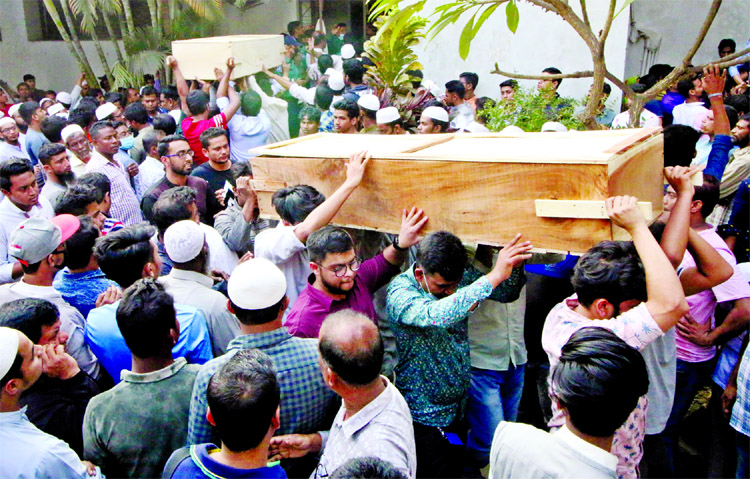 Relatives took over bodies of 46 victims of Chawkbazar fire as DMCH handed over after identified those on Friday.