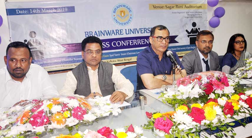 Falguni Mukharjee, Chancellor of Brainware University, Kolkata on Thursday speaks at a press conference at the Reporters Unity in the city informing her university's admission procedure for Bangladeshi students.