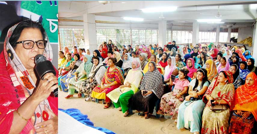 Mahila Awami League leader Hasina Mohiuddin speaking at a discussion meeting on the occasion of the National Children's Day  organised by Mahila Awami League, Chattogram City Unit on Sunday.