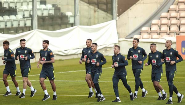 Players of Brazilian soccer team take part in a training at the Bessa stadium in Porto, Portugal on Monday. Brazil will face Panama in a friendly soccer match in Porto on March 23.