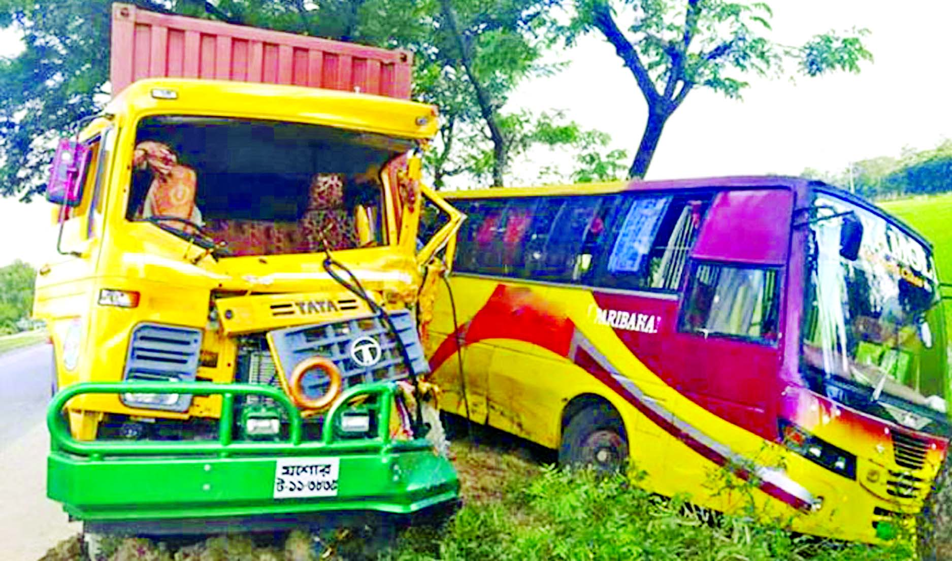 Three including bus helper were killed when a goods laden covered van hit a bus at Peerganj Upazila in Rangpur on Tuesday.