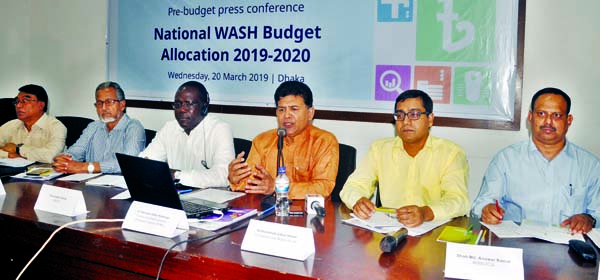Former Adviser to the Caretaker Government Dr. Hossain Zillur Rahman speaking at a pre-budger press conference on 'National WASH Budget Allocation-2019-2020' at the Jatiya Press Club on Wednesday.