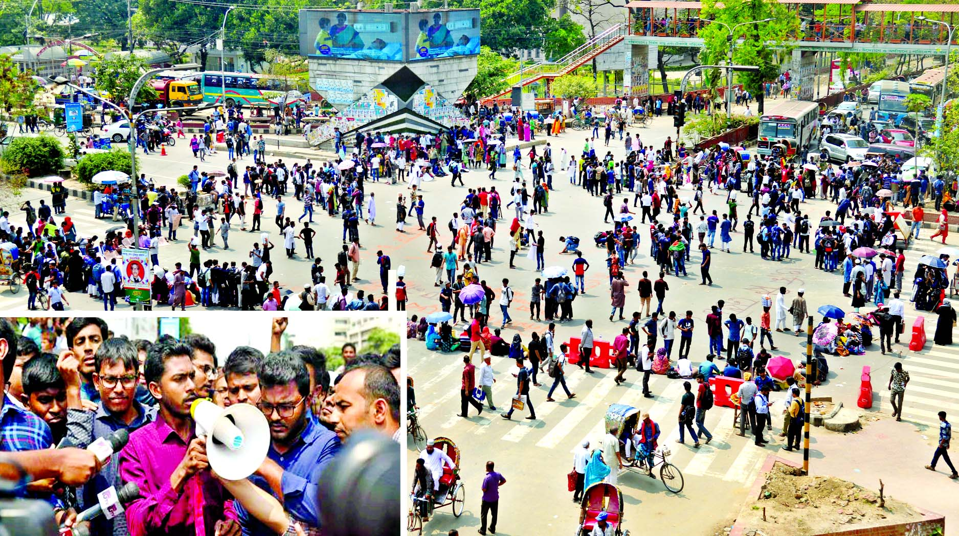 Hundreds of students of universities, colleges and schools also blocked the city's key Shahbagh intersection as movement for safe roads spread across the capital on Wednesday. (Inset) DUCSU VP Nurul Haque Nur addressing the demonstration as he and other leaders express solidarity with the movement.