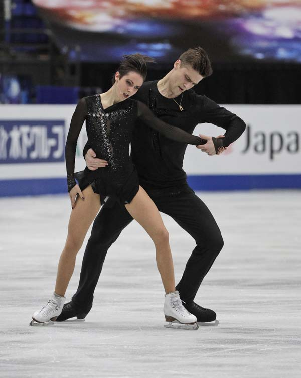 Russia's Natalia Zabiiko and Alexander Enbert perform their pairs free skate during the ISU World Figure Skating Championships at Saitama Super Arena in Saitama, north of Tokyo on Thursday.