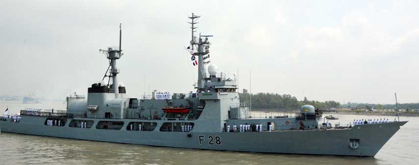 Samudra Joy, an war ship of Bangladesh Navy living Cox's Bazar Sea Beach on Thursday  to participate in an International Maritime Exhibition in Malaysia  will begin on March 26.