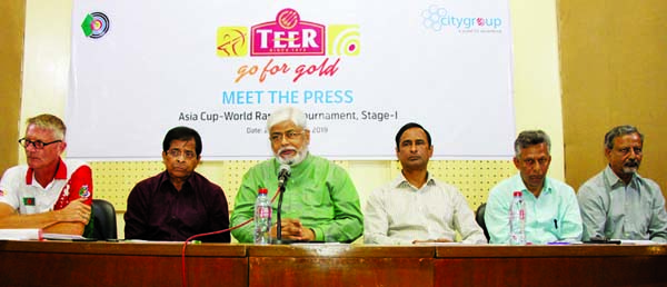 General Secretary of Bangladesh Archery Federation Kazi Rajib Uddin Ahmed Chapol addressing a press conference at the Dutch-Bangla Bank Auditorium of Bangladesh Olympic Association Bhaban on Saturday.