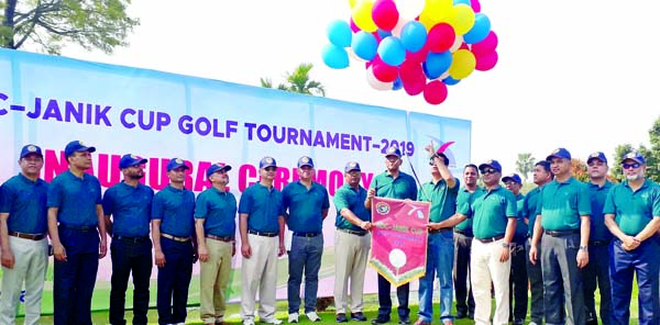 Abdullah Al Islam Jakob, MP, and Commandant of National Defence College Lieutenant General Sheikh Mamun Khaled jointly inaugurating the NDC-JANIK Commandant's Cup Golf Tournament by releasing the balloons at the Kurmitola Golf Club in Dhaka Cantonment on Saturday.
