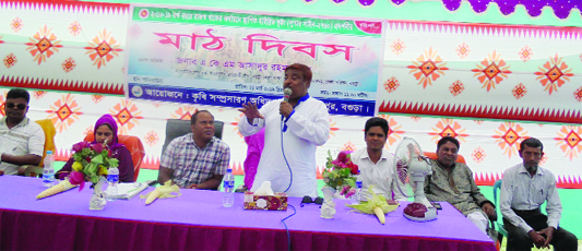 DUPCHANCHIA(Bogura): AKM Asadur  Rahman  Dula, former acting chairman of Bogura Zilla Parishad speaking at Field Day of hybrid maize at Shajahanpur upazila organised by  Department  of Agriculture Extension of Sherpur Upazila as Chief Guest on Friday.