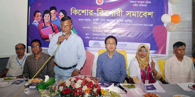 Haji Jahurul Alam Jasim, Councilor of Ward No-9 speaking at a discussion meeting on reproductive health at Bangabandhu High School in Chattogram as Chief Guest yesterday.