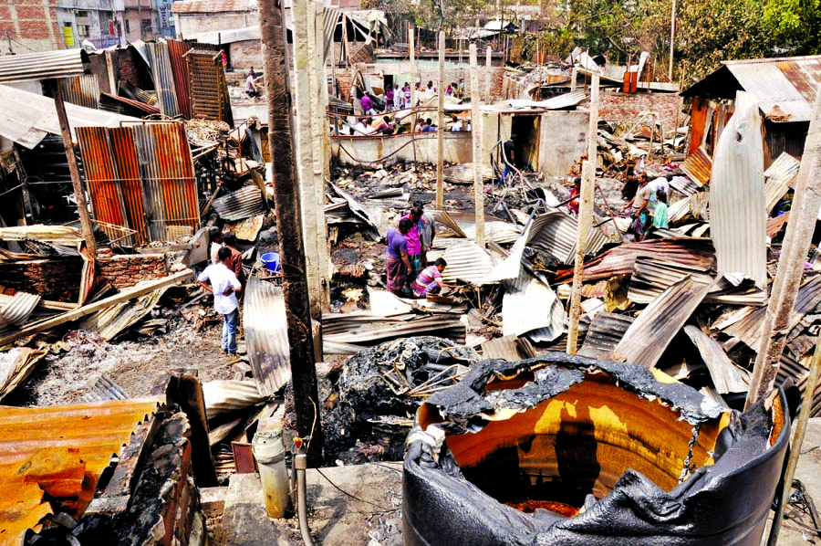 About hundreds of shanties were burnt to ashes as fire broke out in city's Lalbagh slum on Saturday.