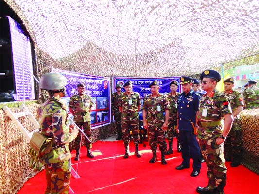 JASHORE : A seven daylong  Military Hardware Exhibition began at Jashore Cantonment in Jashore  on Sunday organised by Bangladesh Army on the occasion of the Independence Day and National Day today.